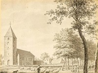 a view of the church of leusden (+ 3 others; 4 works) by jordanus hoorn