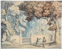 two sportsmen, one possibly rowlandson, out shooting in hengar woods, west camelford by thomas rowlandson