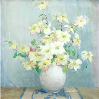still life of a vase with white flowers by anna s. fisher