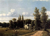 cows grazing by a country estate by johannes jacobus (jan) heppener
