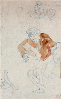 trois études de personnages accroupis (study) by eugène delacroix