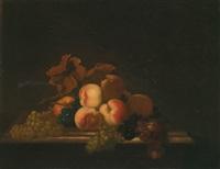 stillleben mit trauben und pfirsichen by paul liegeois