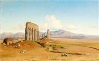 rome, l'acqueduc de claude (+ a study, smllr; 2 works) by jean achille bénouville