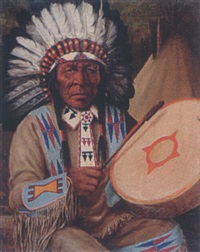 untitled - plains indian chief by henry metzger