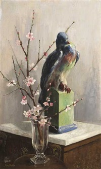 gilbert bayes pigeon with almond blossom by mary georgina barton