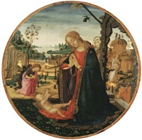 the madonna and child, the youthful saint john the baptist and an angel in a landscape beyond by jacopo del sellaio