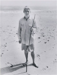 willem de kooning on beach with staff, water mill, ny (+ another; 2 works) by john jonas gruen