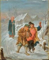 scène de neige animée de personnages by v. krukov
