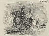 heereszug über das gebirge. cortes und seine reiter... kampf der reiter mit feindlichen kundschaftern by max slevogt