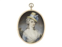 a lady, wearing blue dress, pale yellow sash and white fichu, her powdered wig worn à la conseilleur and secured with a white bandeau beneath her straw hat finished with blue ribbon by john russell