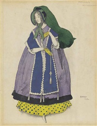 costume design for 'papillons': woman in a mauve dress by leon bakst