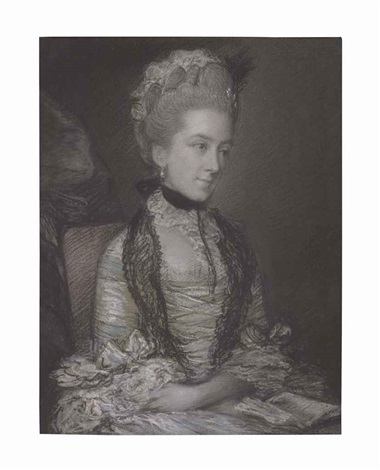 portrait of caroline 4th duchess of marlborough half length in a blue and white dress by thomas gainsborough