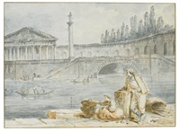a man smoking a pipe and a woman with baskets looking out at rowing boats by hubert robert