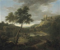 capriccio with classical sarcophagus and (?) beeston castle, cheshire by george lambert