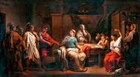 tarquinius fiai és collatinus munka közben találják otthonában lukréciát by vincenzo camuccini