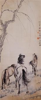 watercolour horses scroll by xu beihong