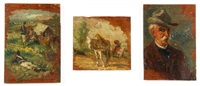 soldiers, portrait of a man, and horses (3 works) by giovanni fattori