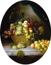 grapes, peaches, pears and other fruit in a wicker basket on a marble ledge by jean laurent