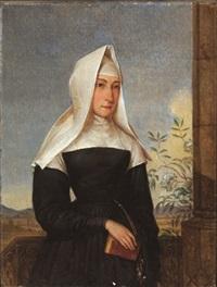 bildnis einer nonne vor landschaftshintergrund by josef ginovsky