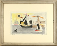 harbor with lighthouse by lyonel feininger