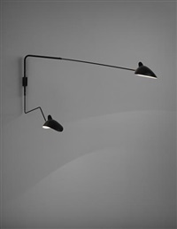 pivoting two-armed wall light with 'lampadaire' and 'casquette' shades by serge mouille