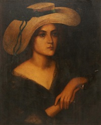 portrait of a woman with a hat on by ernest hérbert