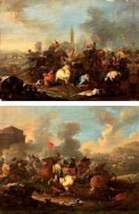 combats de cavaliers (pair) by august querfurt