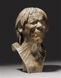 bust of the so-called rescued from drowning patinated alabaster carved with eyes tightly shut and mouth closed by franz xaver messerschmidt
