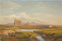 view of the roman campagna with the claudian aqueduct by salomon corrodi