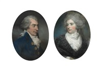 portrait of sir john frederick, 5th bt. (1750-1825), of burwood park, walton-on-thames, in a blue coat with powdered hair (+ portrait of lady frederick, née mary garth (d. 1794), in a white muslin dress with black lace cloak; pair) by john russell