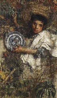 an italian boy in a vineyard (recto); study of a boy (verso) by antonio mancini