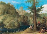 ein einsiedler mit zwei gefährten in einer bewaldeten flusslandschaft by johann (hans) konig
