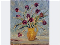 still life with tulips in vase by leon bollag