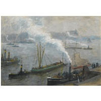 rotterdam harbour by jacobus cornelis wyand cossaar