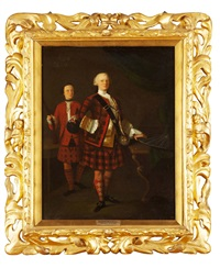 a full length portrait of alasdair ruadh macdonell, 13th chief of glengarry by john alexander