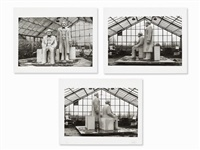 3 photographs, marx&engels monument by sibylle bergemann