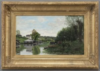 riverside scene by adrien jacques sauzay