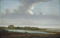 a panoramic river landscape with a figure resting, a monumental building and a church tower beyond by pieter jansz post