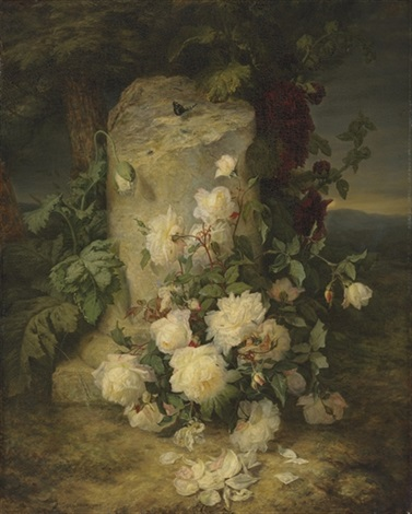 yellow roses by a stone plinth in a landscape by simon saint-jean