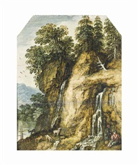 a rocky wooded landscape with shepherds watering their goats by streams below two waterfalls by david ryckaert iii