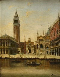prospekt fra venedig, henholdsvis kanalparti med campanile di s. marco i baggrunden (+ markuspladsen; pair) by c. alfieri