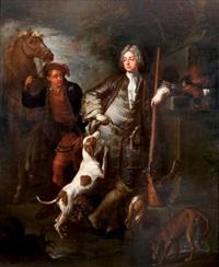 portrait de monsieur tarbocher de beaumont en chasseur avec ses chiens, un palefrenier tenant son cheval par la bride by jean-baptiste oudry