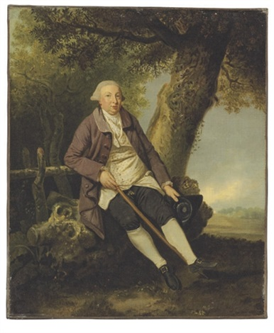 portrait of thomas bradshaw esq junior secretary to the treasurer in a wooded landscape by johann joseph zoffany