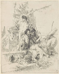 punchinello talking to two magicians, from: scherzi di fantasia by giovanni battista tiepolo