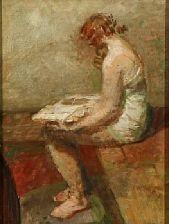 a reading woman seen in profile by julius paulsen