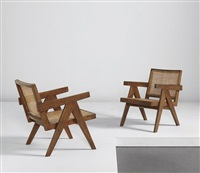pair of easy armchairs, model no. pj-si-29-a, designed for the administrative buildings, chandigarh by pierre jeanneret