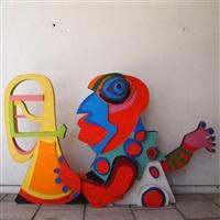 clown avec trompette de la série curcus amsterdam by karel appel