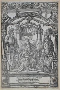 das stadtwappen freiburgs im breisgau - verso maria mit dem kind und den stadtpatronen freiburgs, dem heiligen georg und dem heiligen lambert by hans holbein the younger