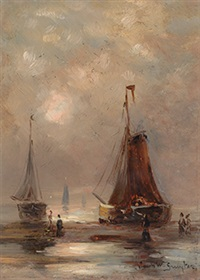 barges on the beach by jacob willem gruyter