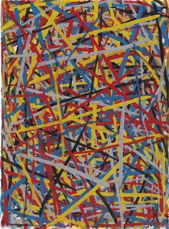 straight brushstrokes in all directions by sol lewitt
